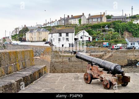 The entrance to Porthleven  harbour Cornwall England UK - Stock Photo