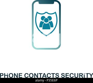 Phone Contacts Security icon. Flat style icon design. UI. Illustration of phone contacts security icon. Pictogram isolated on white. Ready to use in web design, apps, software, print. - Stock Photo