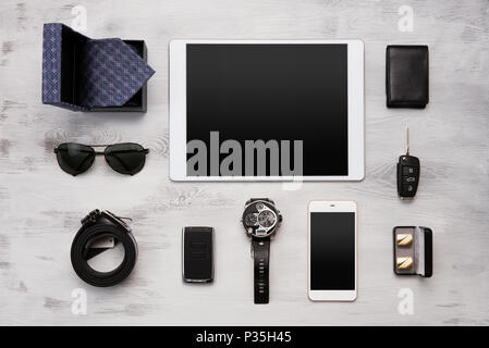 High angle view of a set of modern businessmen accessories - Stock Photo