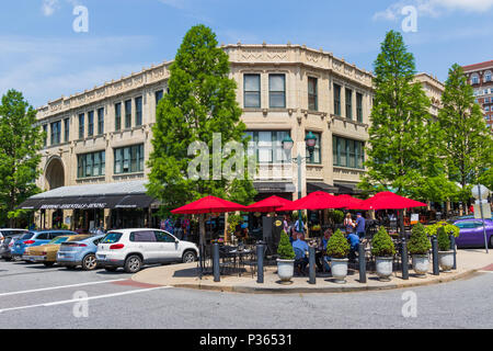 ASHEVILLE, NC, USA-10 JUNE 18:  The corner of the Grove Arcade at Page and Battery Park on an early summer Sunday. - Stock Photo