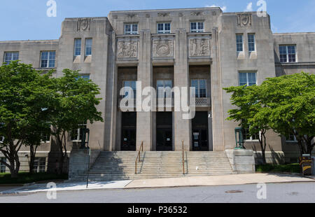 ASHEVILLE, NC, USA-10 JUNE 18:  The federal courthouse on Otis St. in downtown Asheville. - Stock Photo