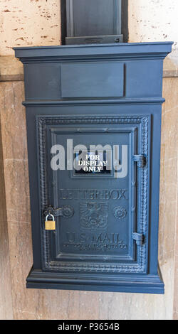 ASHEVILLE, NC, USA-10 JUNE 18:  An antique mailbox, displayed in the Grove Arcade. - Stock Photo