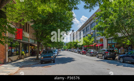 ASHEVILLE, NC, USA-10 JUNE 18:  A sunny Haywood St. on an early summer Sunday. - Stock Photo