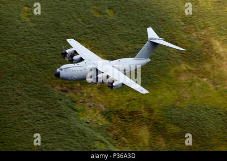 European Airbus A400M Atlas heavy transport aircraft newly in sevice with The RAF at Brize Norton low flying in the Welsh training area LFA7 - Stock Photo