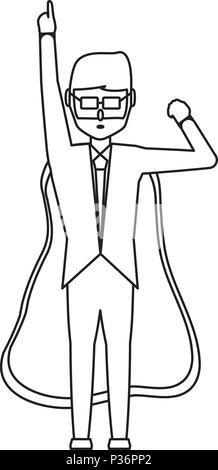 cartoon businessman pointing up and with superhero cape over