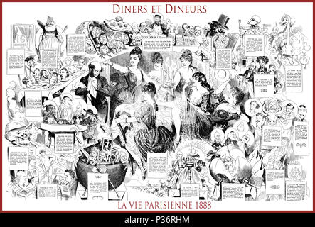 French satirical magazine La vie Parisienne 1888, central page:diners et dineurs (dinners and diners) humor, caricatures, portraits - Stock Photo