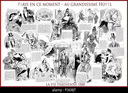 French satirical magazine La vie Parisienne 1888, central page: Paris en ce moment - au grandissime hotel ( Paris now at the grand hotel), dating fashion, love,humor, caricatures, portraits - Stock Photo