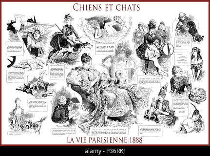 French satirical magazine La vie Parisienne 1888, central page: Chiens et chats ( dogs and cats), women, cats, dogs, humor, caricatures, portraits - Stock Photo