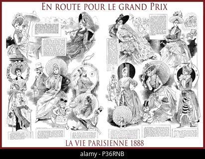 French satirical magazine La vie Parisienne 1888, central page:En route pour le Grand Prix ( on the way of the Grand Prix)ladies, fashion,event,humor, caricatures, portraits - Stock Photo