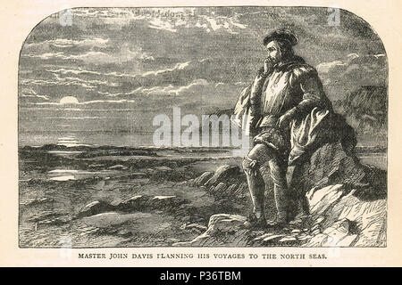 John Davis, English explorer, looking out to sea, planning his voyage to the North seas - Stock Photo
