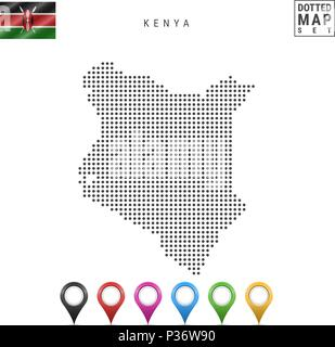 Vector Dotted Map of Kenya. Simple Silhouette of Kenya. The National Flag of Kenya. Set of Multicolored Map Markers - Stock Photo