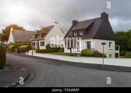 Rural storey house exteriour, summer outdoors Brest, France, 31 May 2018. - Stock Photo