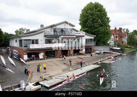 Marlow, Buckinghamshire, United Kingdom, 16th June 2018,  Saturday, Marlow Town Regatta & Festival,  view, Marlow Rowing Club, Boathouse and Clubhouse - Stock Photo