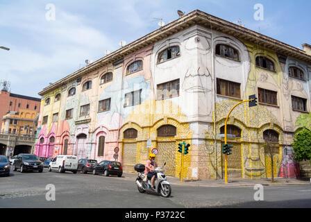 Street art by BLU, Rome, Italy - Stock Photo