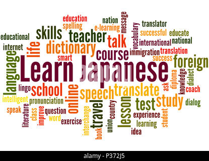 Learn Japanese language online concept with a person showing Stock