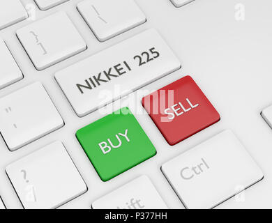 3d render closeup of computer keyboard with NIKKEI 225  index button. Stock market indexes concept. - Stock Photo