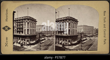 . Fifth Avenue Hotel, N.Y. Alternate Title: New H series; New York and Central Park.  Coverage: 1859?-1896. Digital item published 9-30-2005; updated 2-11-2009. 104 Fifth Avenue Hotel, N.Y, from Robert N. Dennis collection of stereoscopic views - Stock Photo