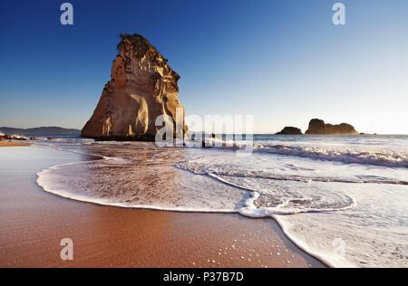 Hoho Rock, Cathedral Cove, Coromandel Peninsula, New Zealand - Stock Photo