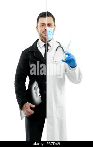 Comparison of businessman and doctor's outlook. Businessman wearing classic suit with white shirt, black tie, keeping black folder. Doctor wearing medical gown, tonometer, keeping disease history. - Stock Photo