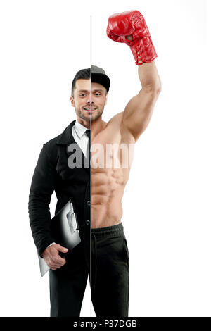 Comparison of businessman and box champion's outlook. Businessman wearing classic suit with white shirt, black tie and keeping black folder. Boxer wearing red boxer gloves ,sport trousers, a cap. - Stock Photo