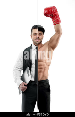 Comparison of manager and box champion's outlook. Manager wearing classic white shirt with black tie and keeping black folder. Boxer wearing red boxer gloves ,sport trousers, a cap. - Stock Photo