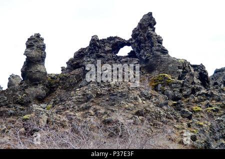 rock formation in dimmuborgir, Iceland - Stock Photo
