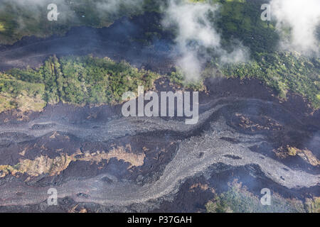 Aerial view of lava flows from the eruption of volcano Kilauea on Hawaii, May 2018 - Stock Photo