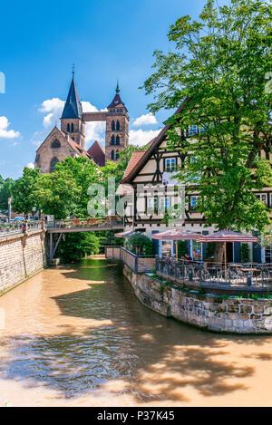 Historical houses in city center of Esslingen am Neckar, Germany - Stock Photo