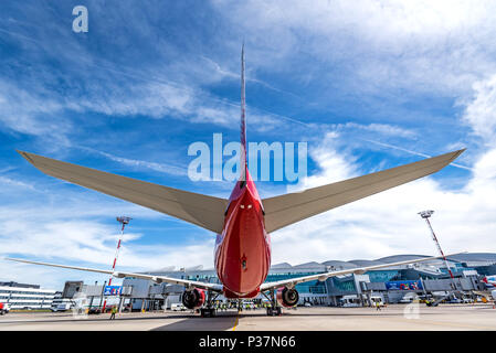 ROSTOV-ON-DON, RUSSIA - 17 JUNE 2018: Boeing 777-300ER of Rossiya airlines in Platov international airport. - Stock Photo