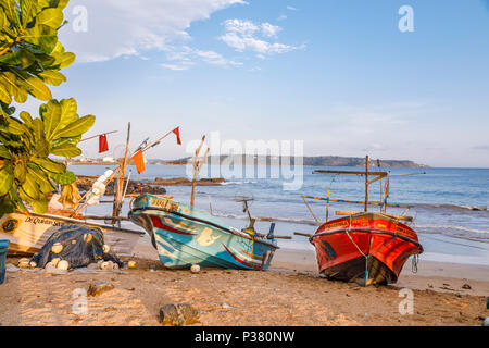 Colourful local style fishing boats beached on the foreshore and view of the coastline in Galle, Southern Province, Sri Lanka in evening light - Stock Photo