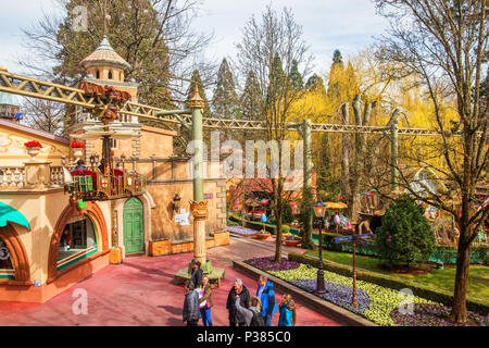 RUST, GERMANY - March 31, 2018 - Guests riding boats in Europa-Park. Europa-Park is a second largest park resort in Europe. - Stock Photo