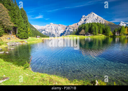 Arnisee lake in Swiss Alps. Arnisee is a reservoir in the Canton of Uri, Switzerland. - Stock Photo