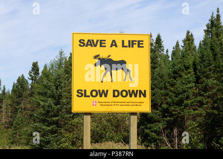 Deer Lake, Canada, on the Trans-Canada Highway - Stock Photo