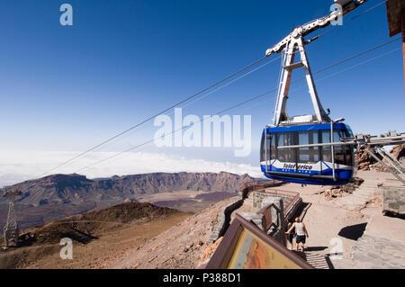 La Orotava, Spain, gondola of the Teide cable car on the Pico del Teide - Stock Photo