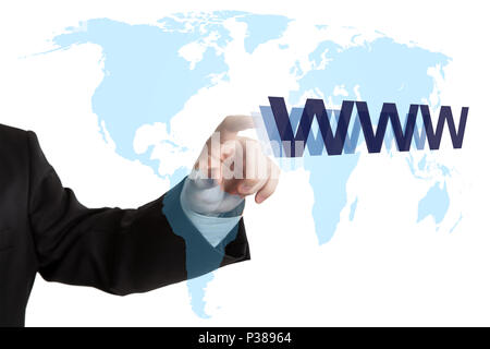 world map and world wide web searching - Stock Photo