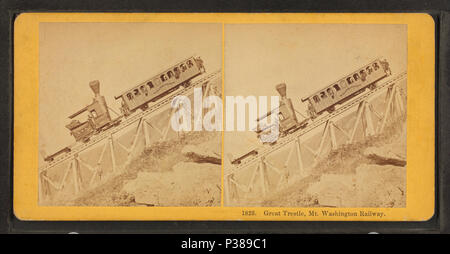 131 Great Tresle, Mt. Washington Railway, by Kilburn Brothers - Stock Photo
