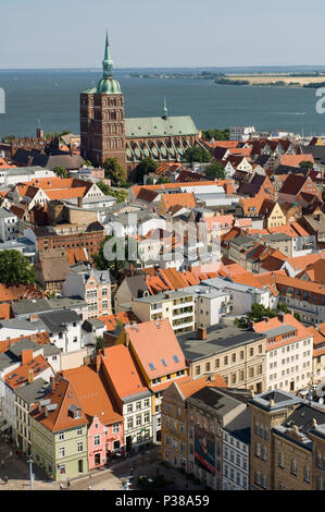 Stralsund, Germany, view from the tower of the St. Marienkirche over the city - Stock Photo