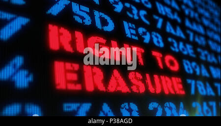 Right to erasure concept on digital background. Red alert and text in screen stylised illustration. - Stock Photo