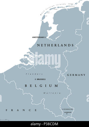 eu stars benelux countries gray colored political map belgium netherlands and luxembourg benelux union
