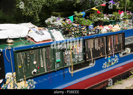 Close up of narrow boat at a festival on the River Stort in Bishops Stortford, Hertfordshire, UK - Stock Photo