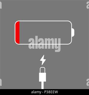The come to an end battery and charging cable on a gray background. Abstract vector illustration. - Stock Photo