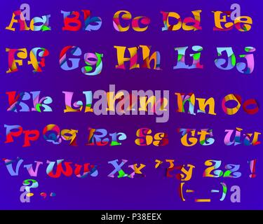 The alphabet made in the paper cut equipment. Vector illustration. The multi colored letters on a purple background. - Stock Photo