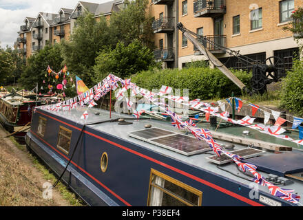 Narrow Boats Dressed Overall on River Stort for Festival - Stock Photo
