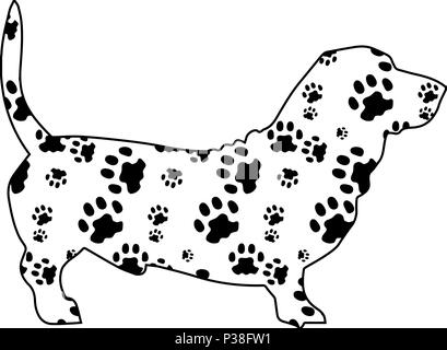 Dog with texture from pads. Black-and-white vector illustration. Isolated on a white background. - Stock Photo