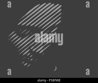 Girls face silhouette. The vector illustration made of lines. Darkly gray background. - Stock Photo
