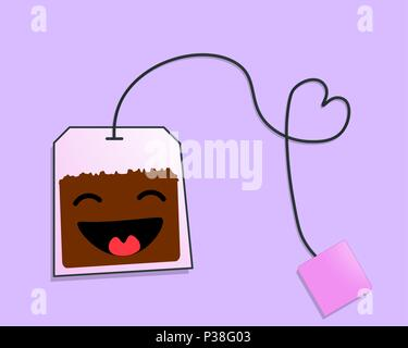 Cheerful tea bag. An amusing vector illustration on a lilac background. - Stock Photo
