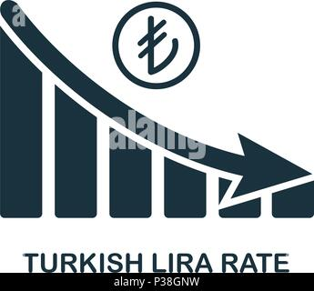 Turkish Lira Rate Decrease Graphic icon. Mobile app, printing, web site icon. Simple element sing. Monochrome Turkish Lira Rate Decrease Graphic icon illustration. - Stock Photo