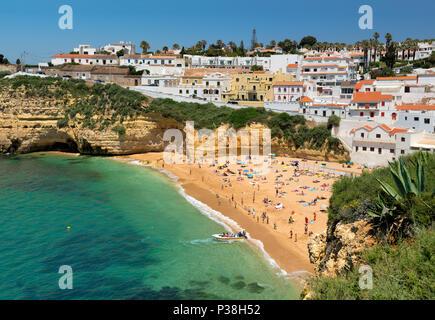Praia do Carvoeiro in summer, the Algarve, Portugal - Stock Photo