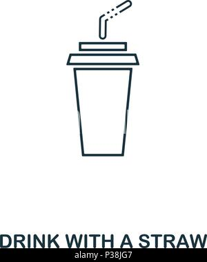 Simple outline Drink With A Straw icon. Pixel perfect linear element. Drink With A Straw icon outline style for using in mobile app, web UI, print. - Stock Photo