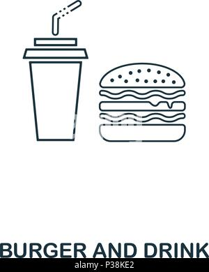 Simple outline Burger And Drink icon. Pixel perfect linear element. Burger And Drink icon outline style for using in mobile app, web UI, print. - Stock Photo